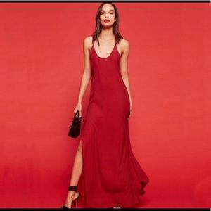 deep red reformation backless dress